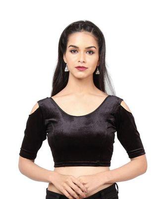 Black Velvet Stretchable Readymade Blouse For Women