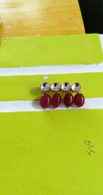 Kundan And Red Semi Precious Stones Brooch