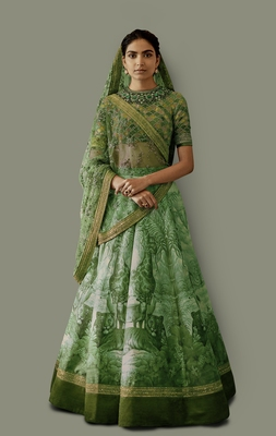 Green embroidered art silk unstitched lehenga