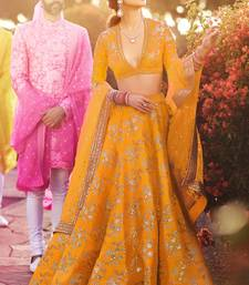 Elegant Yellow Colored Embroidered Art Silk Designer Wedding Lehenga For Women
