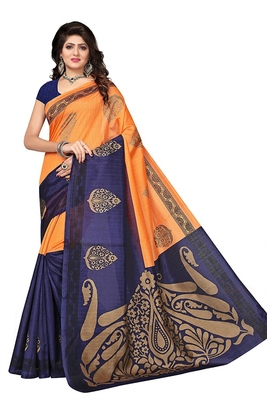 Orange printed bhagalpuri saree with blouse
