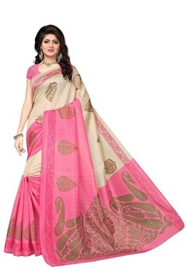 Cream and pink printed bhagalpuri saree with blouse