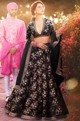 Elegant Black Colored Embroidered Art Silk Designer Wedding Lehenga For Women