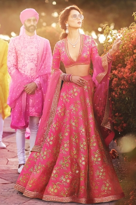 Elegant Pink Colored Embroidered Art Silk Designer Wedding Lehenga For Women