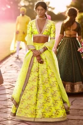 Elegant Lime Green Colored Embroidered Art Silk Designer Wedding Lehenga For Women