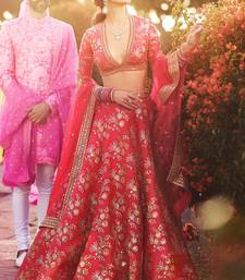 Elegant Red Colored Embroidered Art Silk Designer Wedding Lehenga For Women