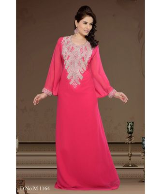 fuchsia pink georgette embroidered zari work islamic-kaftans