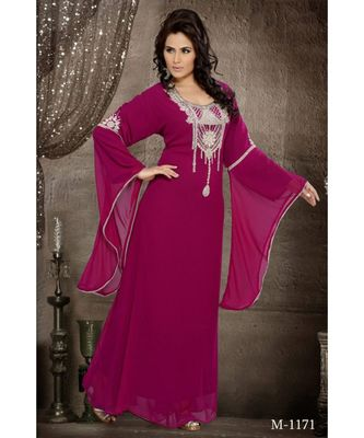 Burgundy Georgette Embroidered Zari Work Islamic-Kaftans