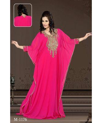 fuchsia pink georgette embroidered zari work islamic-kaftans