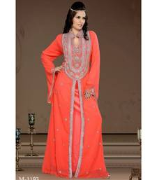 coral georgette embroidered zari work islamic-kaftans