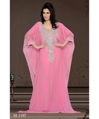 soft pink georgette embroidered zari work islamic-kaftans