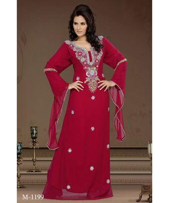 burgundy georgette embroidered zari work islamic-kaftans