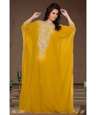 yellow georgette embroidered zari work islamic-kaftans