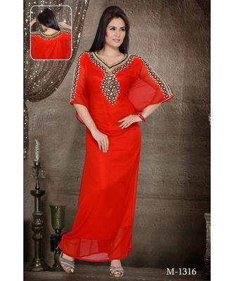 Red Georgette Embroidered Zari Work Islamic-Kaftans