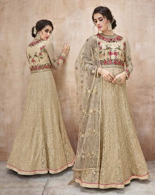 Net Embroidered Beige Floor Length Anarkali Suit
