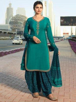 Turquoise embroidered crepe salwar