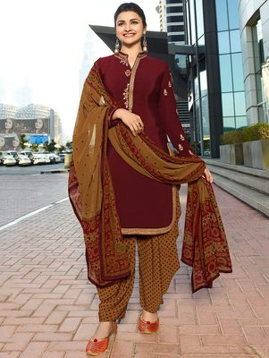 Maroon embroidered crepe salwar