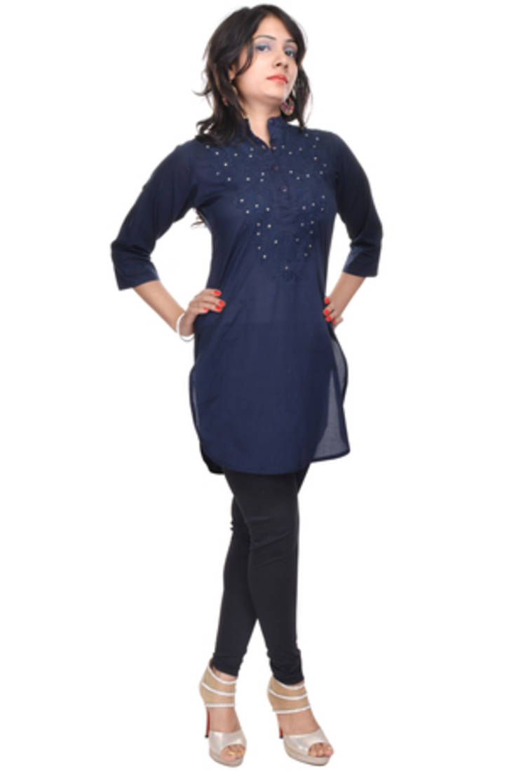 Stand Collar Kurti Designs : Buy navy blue straight kurta with stand collar online