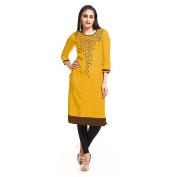 Yellow embroidered rayon kurti