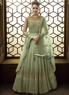 Light Green  Embroidered Net Anarkali Suit