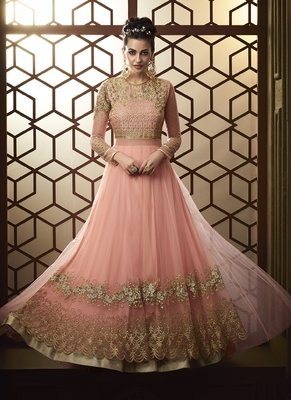 Baby-Pink Embroidered Net Salwar