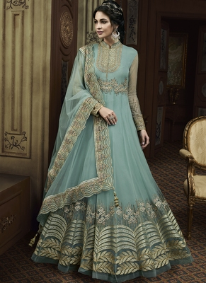 Aqua-blue embroidered net Anarkali