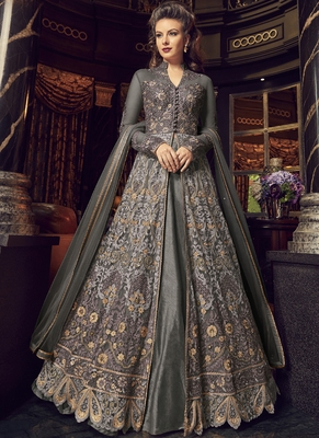 Grey Embroidered Net Semi Stitched Long Salwar Suit  With Dupatta