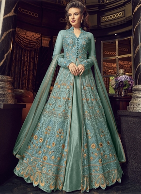 Sky-Blue Embroidered Net Long Salwar Suit