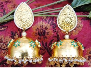 Golden Pearl Jhumka Earrings
