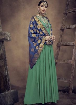 Green embroidered rayon salwar