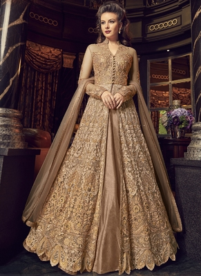 Beige Embroidered Net Long Salwar With Dupatta