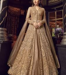 Beige embroidered net anarkali with dupatta