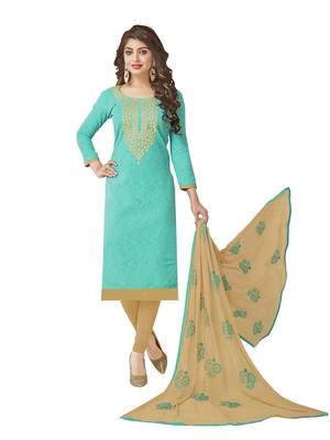 Sky-Blue Embroidered Jacquard Salwar