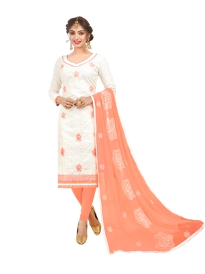 White embroidered jacquard salwar