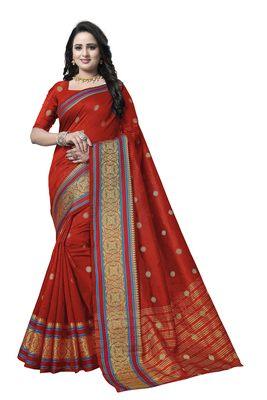 Red Woven Banarasi Art Silk Saree With Blouse