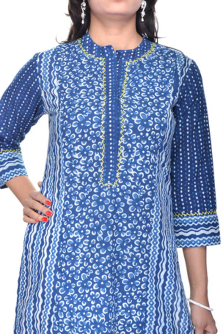 Stand Collar Kurta Designs : Buy indigo straight long with stand collar tagai online