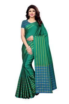 a21a16c2a12 Green woven poly silk saree with blouse. Shop Now