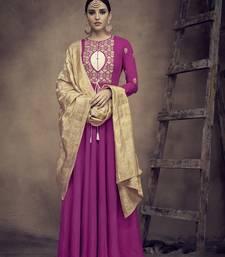 Magenta embroidered rayon salwar