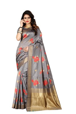 Grey woven banarasi saree with blouse