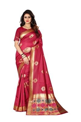 Scarlet woven banarasi saree with blouse
