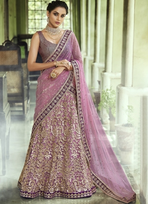 Light-violet thread embroidery net semi stitched lehenga