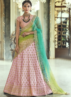 Baby-pink thread embroidery satin semi stitched lehenga