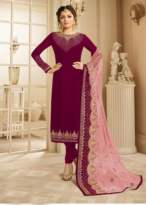 Dark-pink embroidered satin salwar