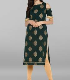 Dark-green printed cotton kurti