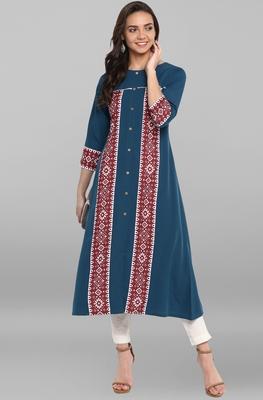Blue printed crepe kurti