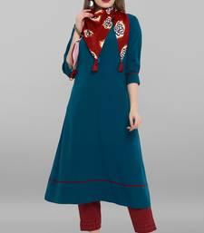 Turquoise plain crepe kurti