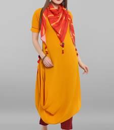 Mustard plain crepe kurti