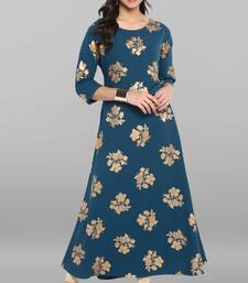 Turquoise printed crepe kurti