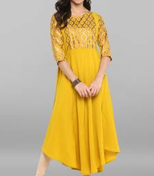 Yellow printed crepe kurti