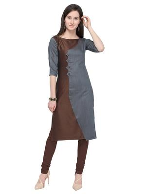 Grey & Coffee Straight Rayon Cotton Reversible Fancy Kurti